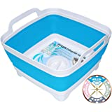 DUYKQEM Dish Basin Collapsible with Drain Plug Carry Handles for 9 L Capacity, Collapsible Sink Tub, Dish Wash Basin…