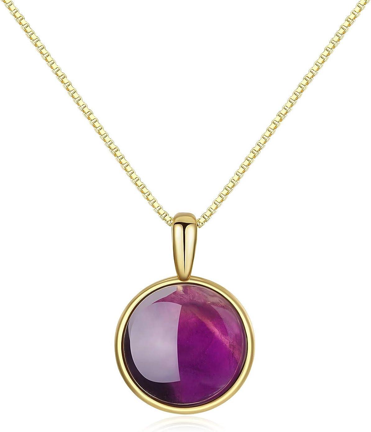 COAI® Collar con Colgante de Piedra Redonda Plata Baño de Oro