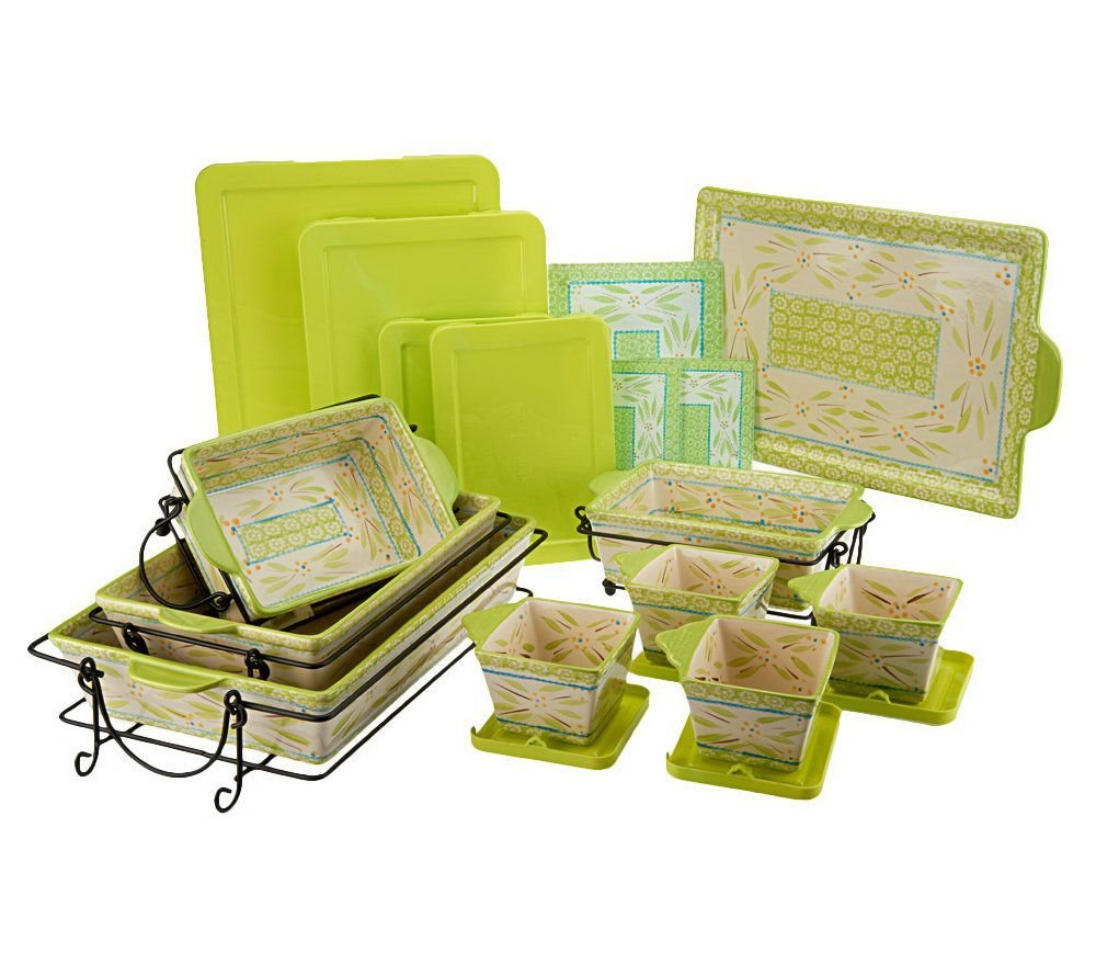 Temp-tations Old World 22-piece Oven-to-Table Set Stoneware Bakeware (Old World Lime)