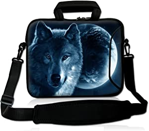 "iColor 15"" Laptop Shoulder Bag 14.1"" 14.2"" 15.6"" Inch Neoprene Laptop Messenger Bag 15.4"" Notebook Computer Dual Zipper Case Cover Pouch Holder Pocket -Wolf"