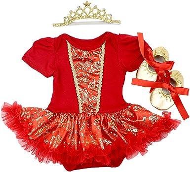 Infant Baby Girl First Christmas Outfits Tutu Dresses Santa Print Princess Headband Clothes Set