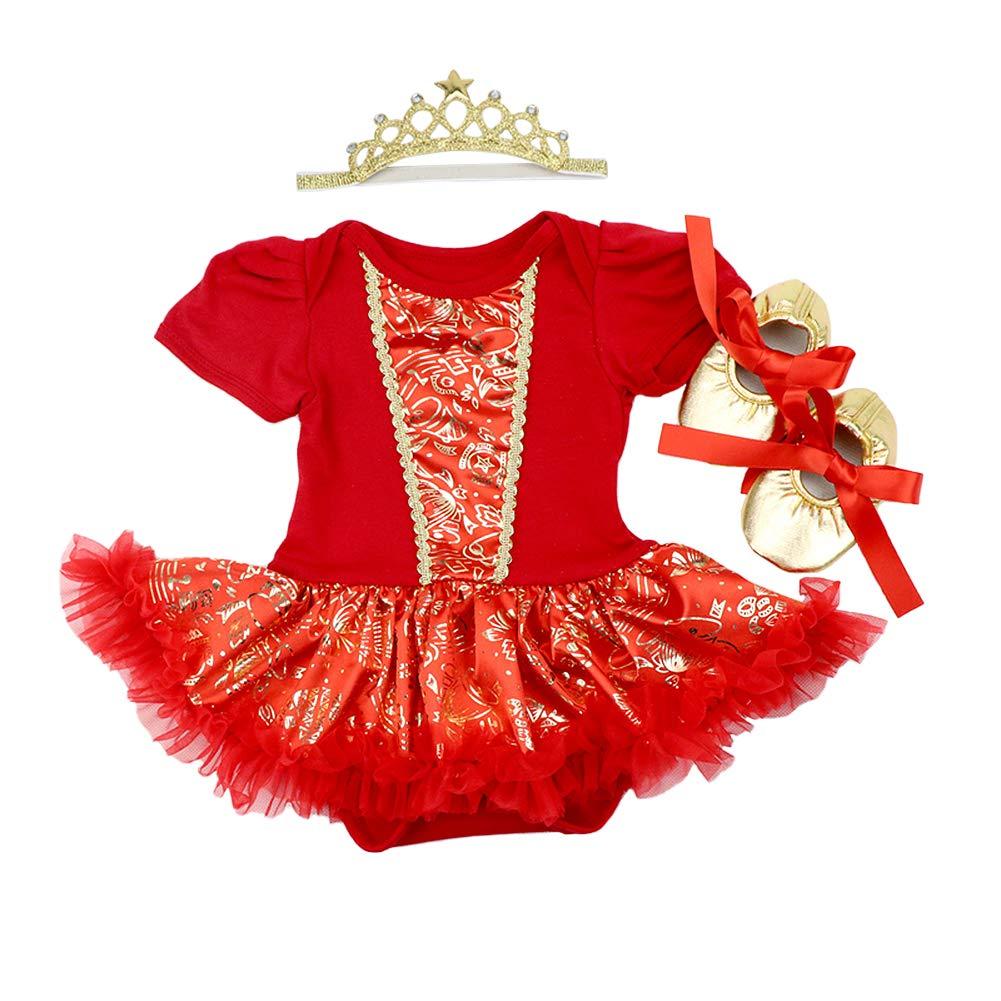 OBEEII Neonato Natale 3PCS Abbigliamento Set Pagliaccetto Tutu Gonna + Fascia + Scarpe Principessa Vestito Christmas Alce Abito de Festa per Bambina 3-18 Mesi