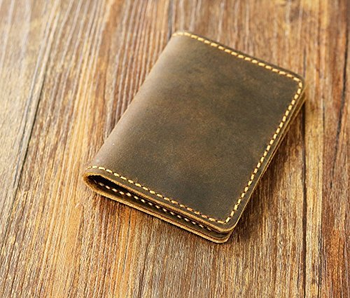 Personalized leather credit card holder / Slim cash change wallet / vintage retro leather card case C054CF