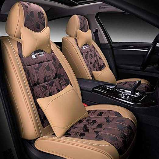 Zyy Car Seat Covers Universal Luxury Leather Lattice Protectors Set Full Car Front and Rear 9 Piece Set car seat Cover Color : A