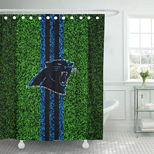 - Ladble Decor Shower Curtain Set with Hooks Carolina City Panthers Grass Texture Emblem Football Lawn Blue Black Lines Charlotte North USA 66 X 72 Inches Polyester Waterproof Bathroom