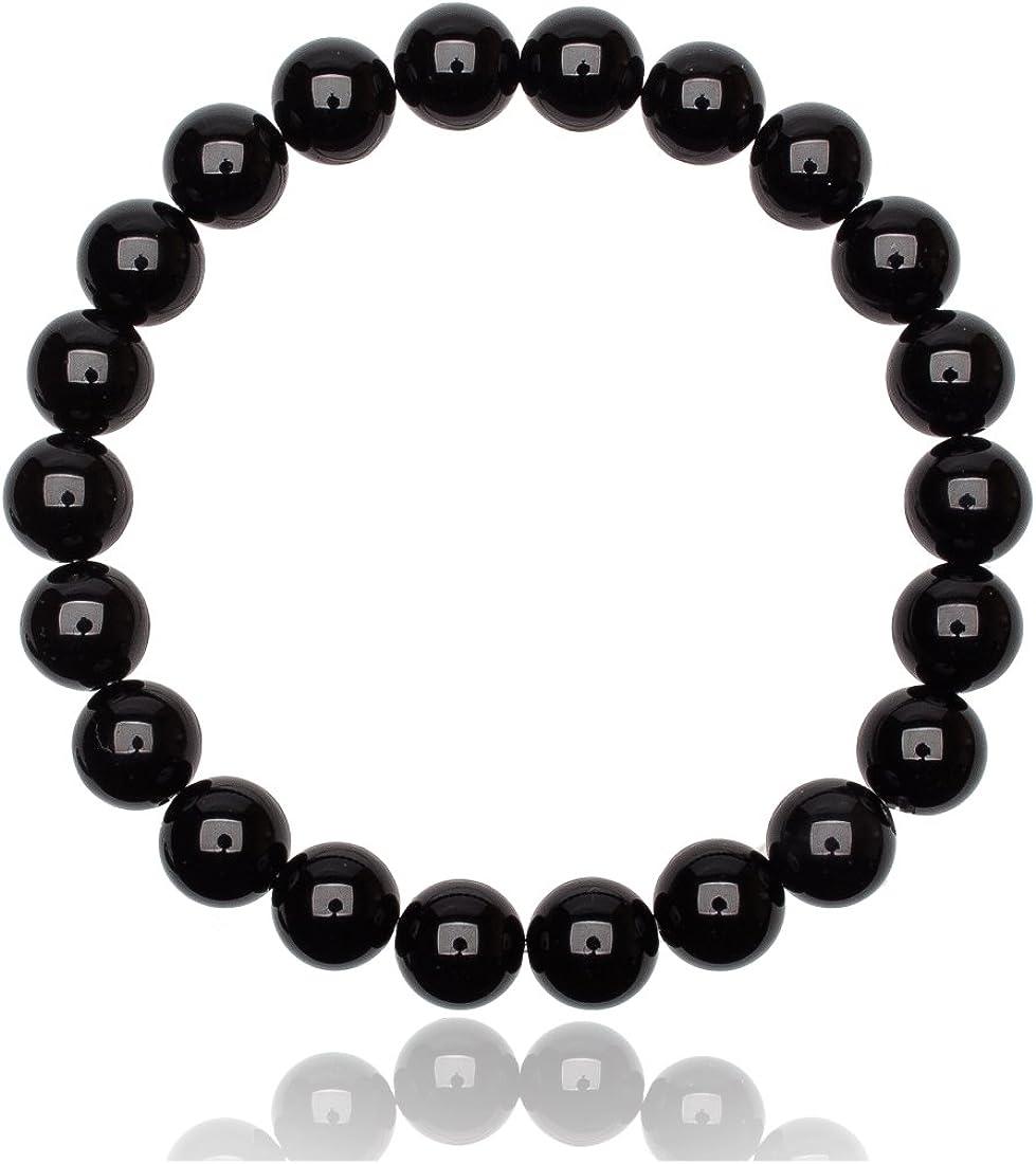 Unique pulsera de perlas Ónice negro 8mm grado AAA unisex banda elástico One Size Fits All 16cm para 20cm
