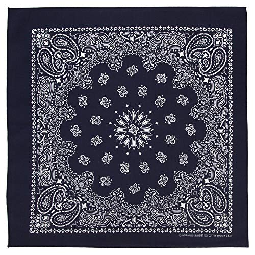 100% Cotton Western Paisley Bandanas (22 inch x 22 inch) Made in USA - Navy Dozen Packed 22x22 - Use For Handkerchief, Headband, Cowboy Party, Wristband, Head Scarf - Double Sided Print