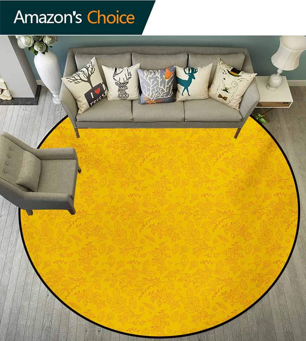 RUGSMAT Floral Modern Machine Washable Round Bath Mat,Autumn Colored Bay Leaf Pattern with Blueberry Figures Fall Season Artful Illustration Non-Slip Soft Floor Mat Home Decor,Round-55 Inch