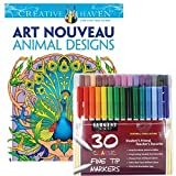 Sargent Art Classic Fine Tip Markers in a Case, Set of 30 and Dover Creative Haven Art Nouveau Animal Designs by Marty Noble (Bundle of 2)