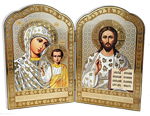 Gold Foil Christ the Teacher and Virgin of Kazan Russian Orthodox Icon Diptych 8 Inch Foil Icon