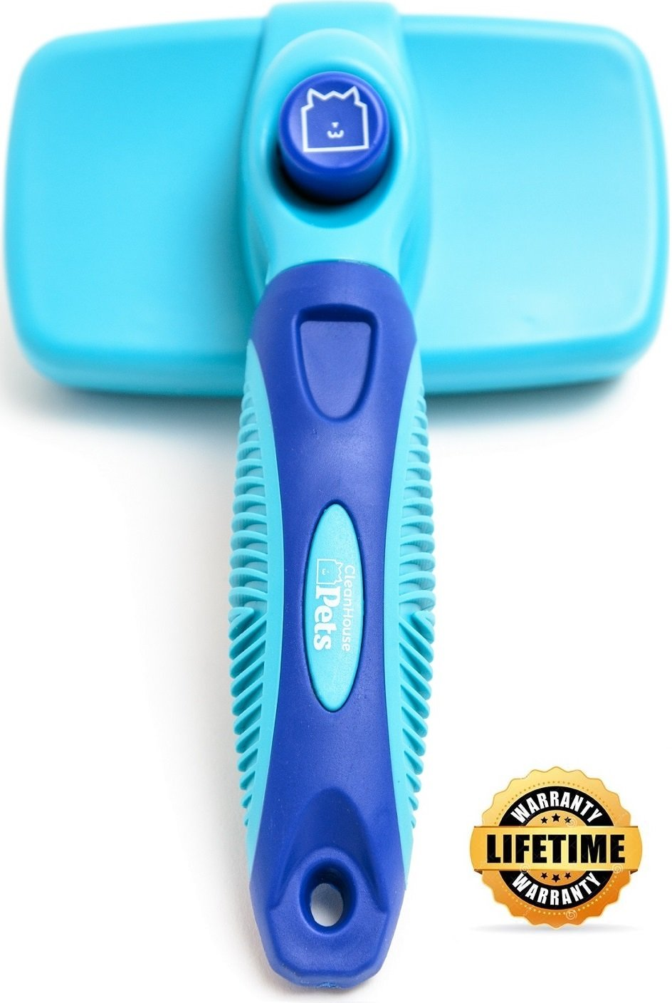 CleanHouse Dog and Cat Hair Brush, Stops Shedding, Easy Self-Cleaning Button! Pro Grooming Brush Removes all Hair, Tangles, Cleans, Desheds - Best Slicker Brush for all Pet Sizes & Hair Types