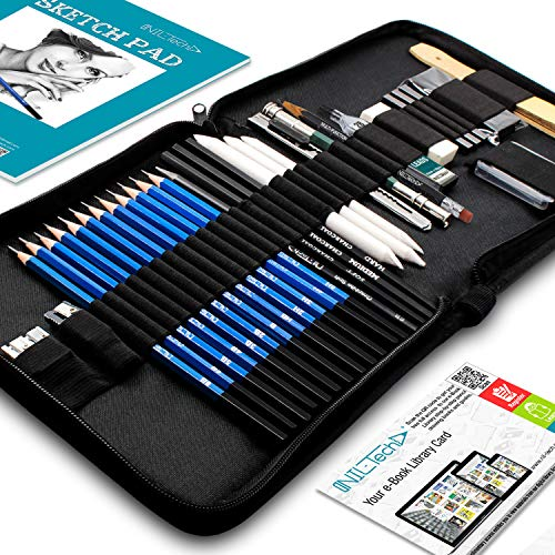 Drawing Pencils Art Supplies - 37 Sketching Art Set - Each Art Supply Includes Bonus Sketch Book and Digital Library Drawing Tutorials Cool Stuff - Pencil Pouch, Graphite Charcoal Pencils, Erasers (4h Binder)
