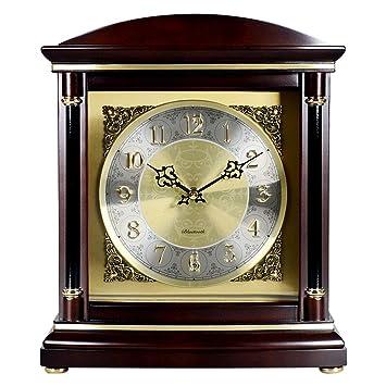 Mesa Reloj Sala de Estar Decoración Dormitorio Sin tictac Operado con batería Vintage Decorativo Europeo Retro Madera Bluetooth Música Silenciador de Cuarzo ...