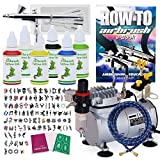 PointZero Complete Temporary Tattoo Airbrush Set - 6 Color 100 Stencil Kit