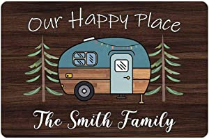 Personalized Camper Doormat Our Happy Place Custom Camping, Rv Door Mat with Family Name 24