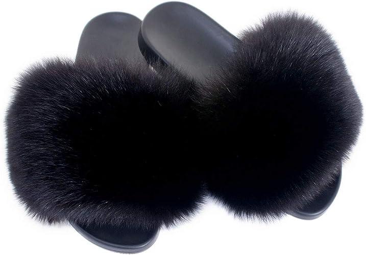 Fell Latschen Pelz Pantoffeln mit schwarz Fuchs Echtfell Echtpelz Schlappen Sandalen mit Pelz Fuchsfell Slipper Slides Schuhe Pantoletten