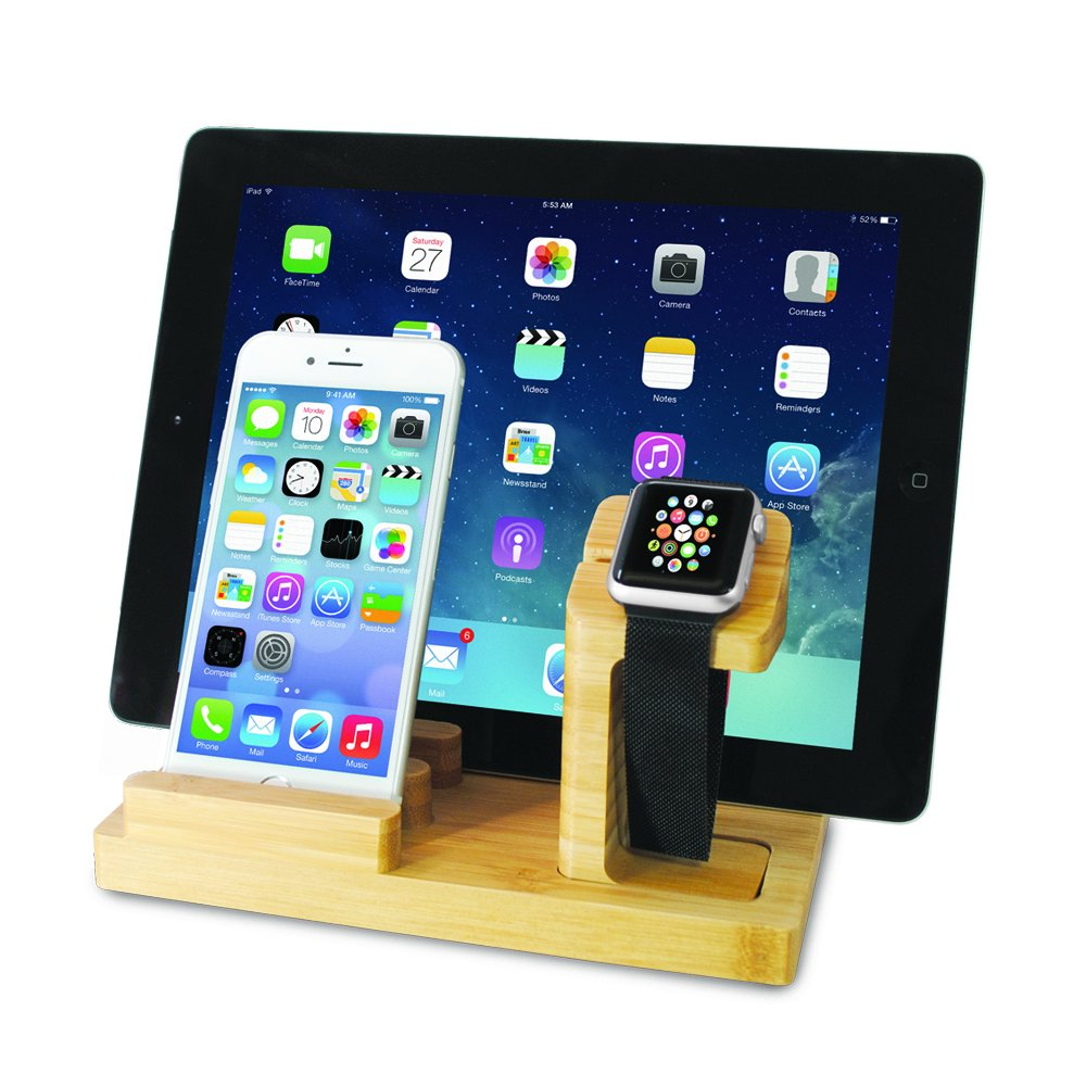 Audiology Connect Wooden Phone Charging Station, Bamboo Charging Station, Phone Stand, Tablet Stand, Charging Dock with USB Cable (Included) for All Smartphones, iPad and Apple Watch