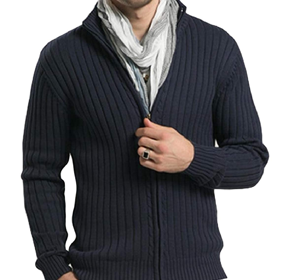 Mfasica Men Zip Long-Sleeve Thickened Stand-up Collar Pure Color Sweater Outwear