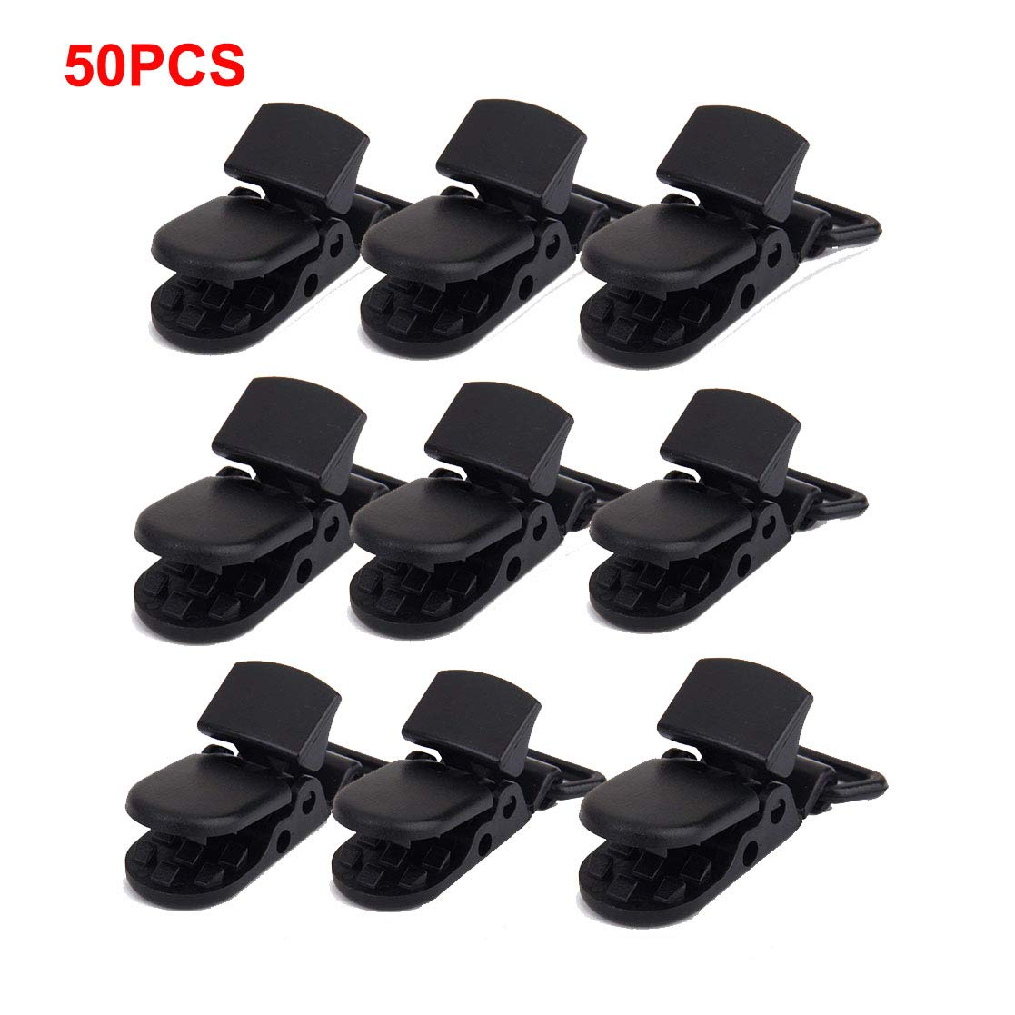 Black Pacifier Clips Soother Clips Suspender Clips Plastic Baby Dummy Pacifier Clip 50pcs T-shape Badge Clips Bib Holders