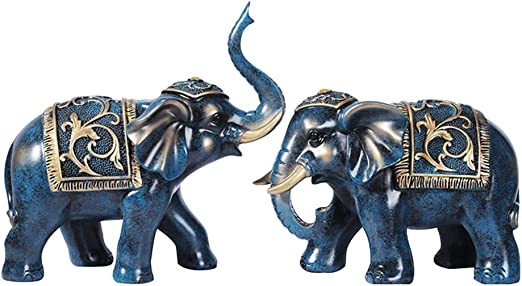 Amazon Com Bencono Home Decorations A Pair Of Elephant Decorations Creative Home Accessories Living Room Wine Cabinet Tv Cabinet Decoration Resin Blue Home Kitchen
