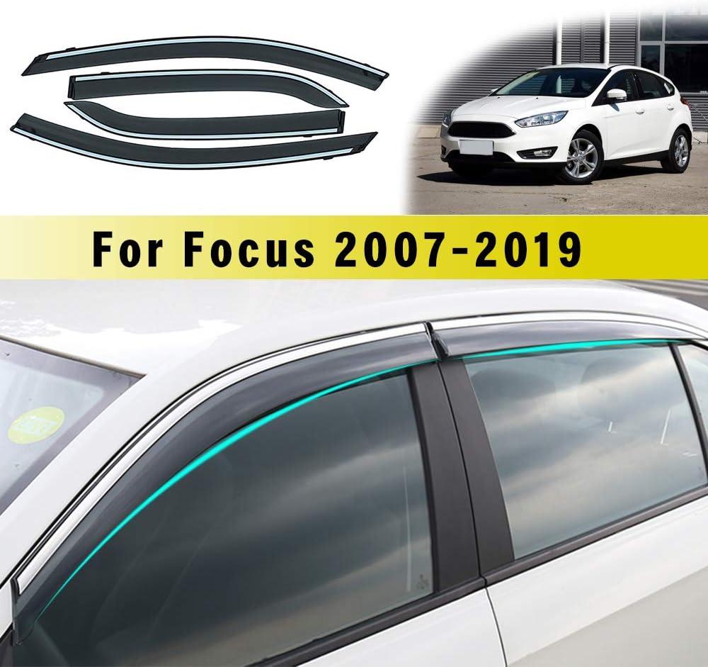 Jiahe per for d Focus Hatchback//Sedan 2007-2011 4PCS Deflettori dAria per Auto Deflettore Pioggia Vento Bloccare Sole Deflettori dAria Antiturbo