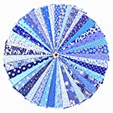 RayLineDo 2030cm Assorted Pre-Cut Printing Cotton Cloth Material Mixed Squares Bundle Quilt Fabric Patchwork for DIY Handmade Craft, Blue Color Series Customizable