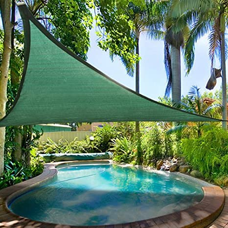 16 5' Triangle Outdoor Sun Shade Sail Canopy Green Polyethylene Fabric  Material w/ Rope Carrying Bag UV Block Portable for Patio Lawn Yard Garden