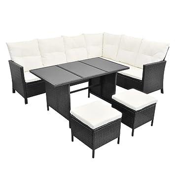 Vidaxl Poly Rattan Gartenmobel 8 Personen Schwarz Lounge Set