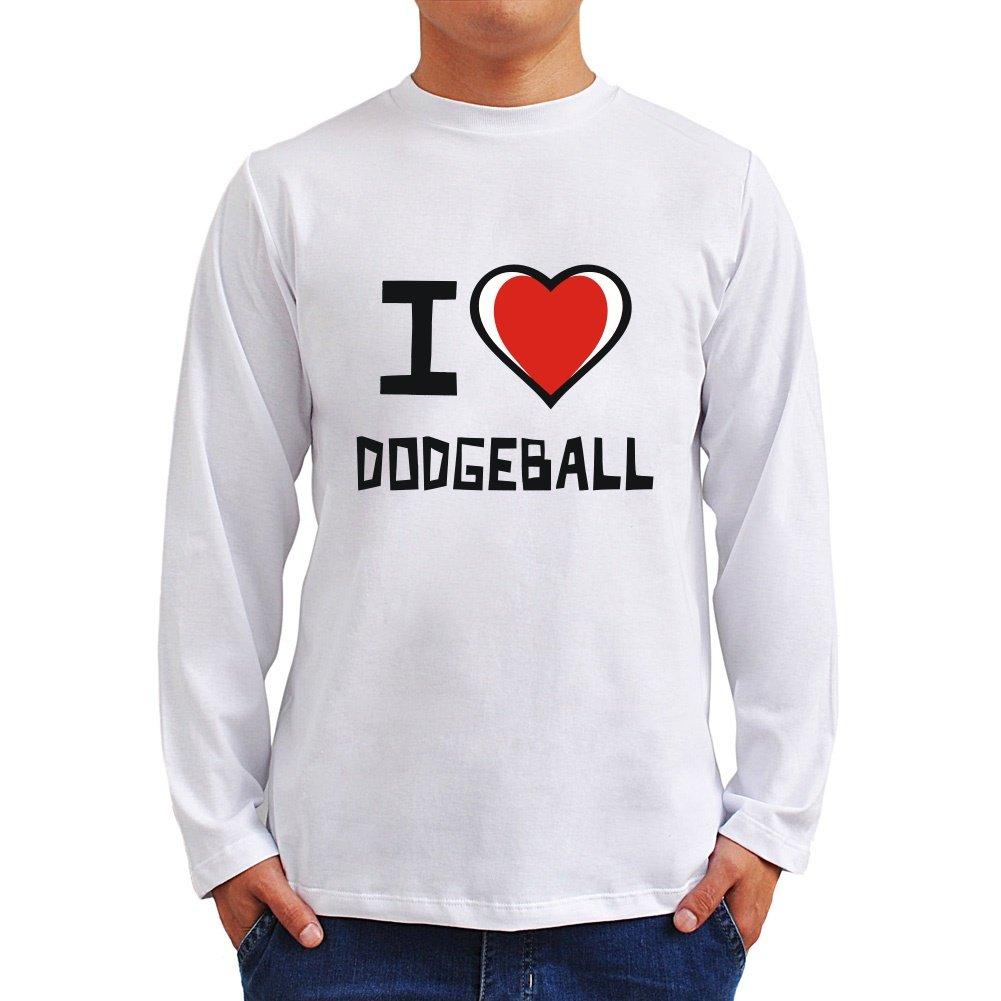 I Love Balón prisionero Camiseta de manga larga, Weiß, L: Amazon ...