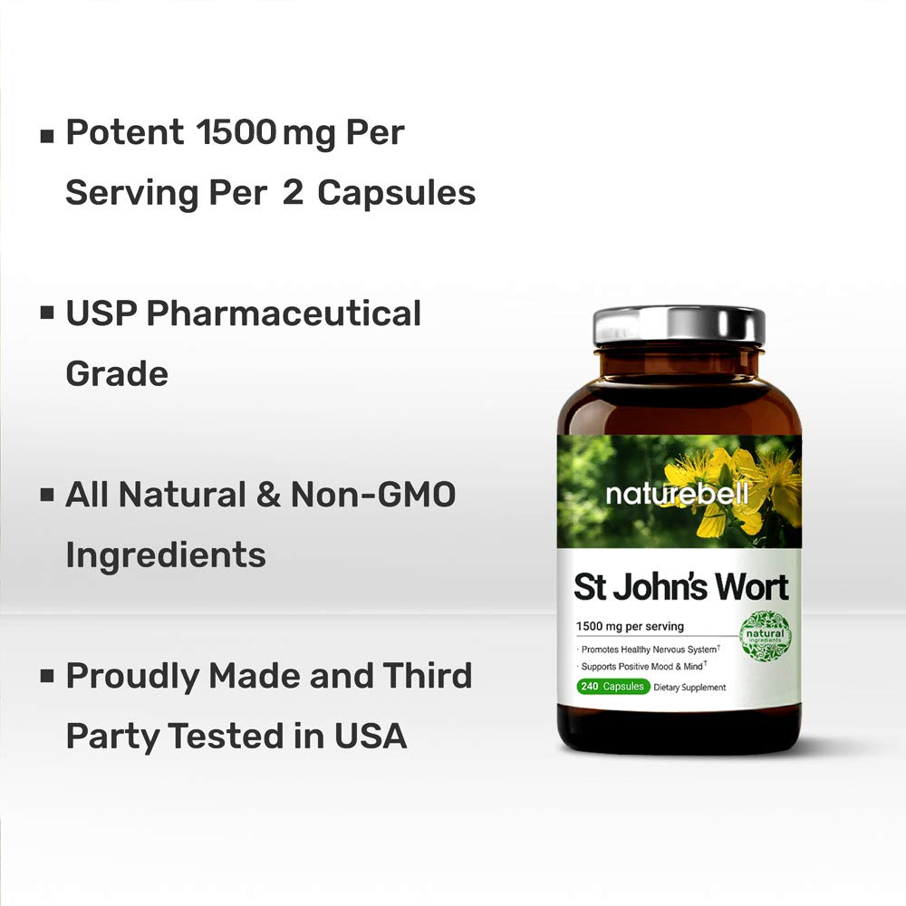 NatureBell St John's Wort 1500 mg, 240 Capsules, Powerfully Supports Positive Mood & Mind, Promotes Healthy Nervous System, No GMOs, No Preservatives, Third Party Lab Tested, Made in USA