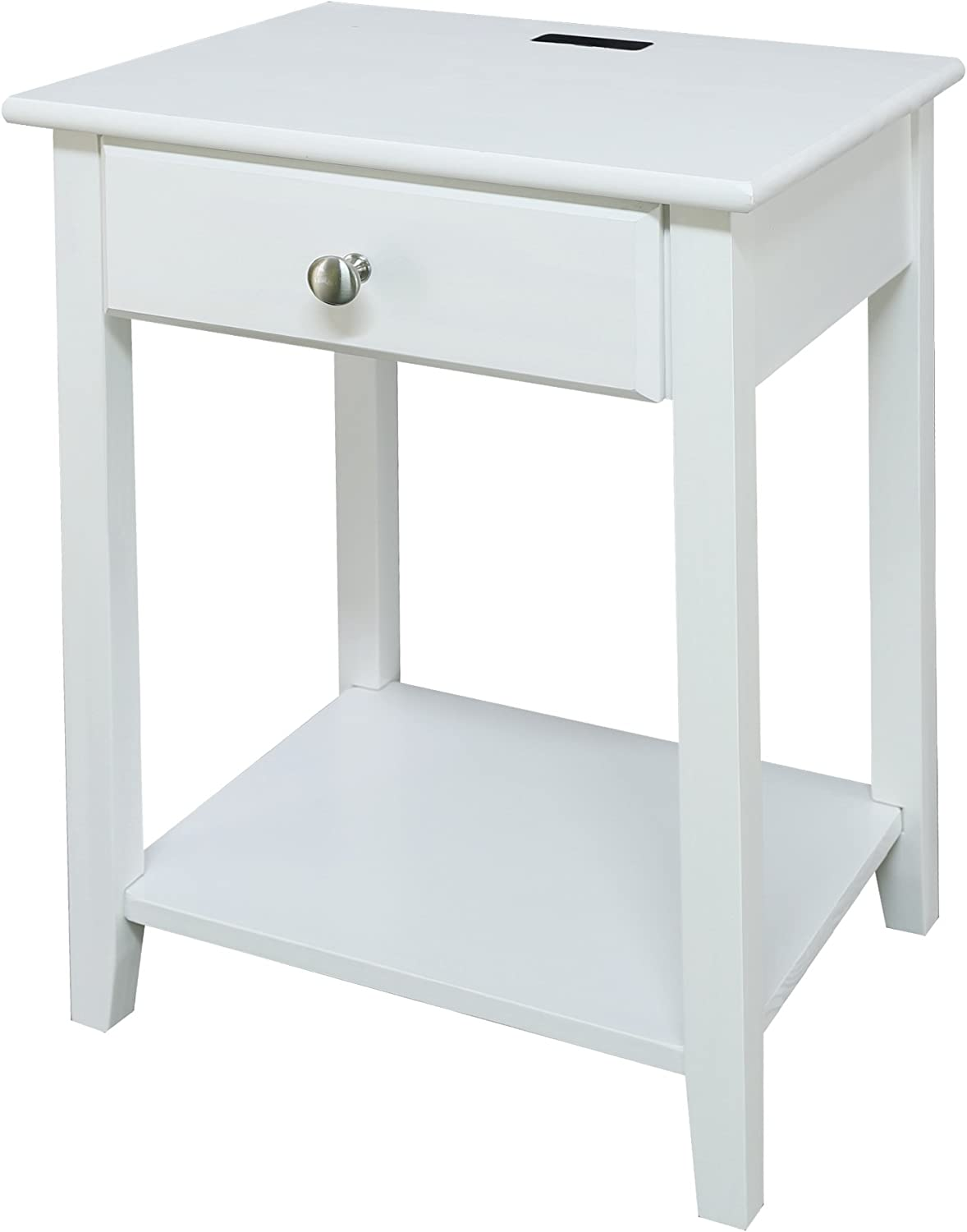Casual Home USB Port Nightstand, White (New)