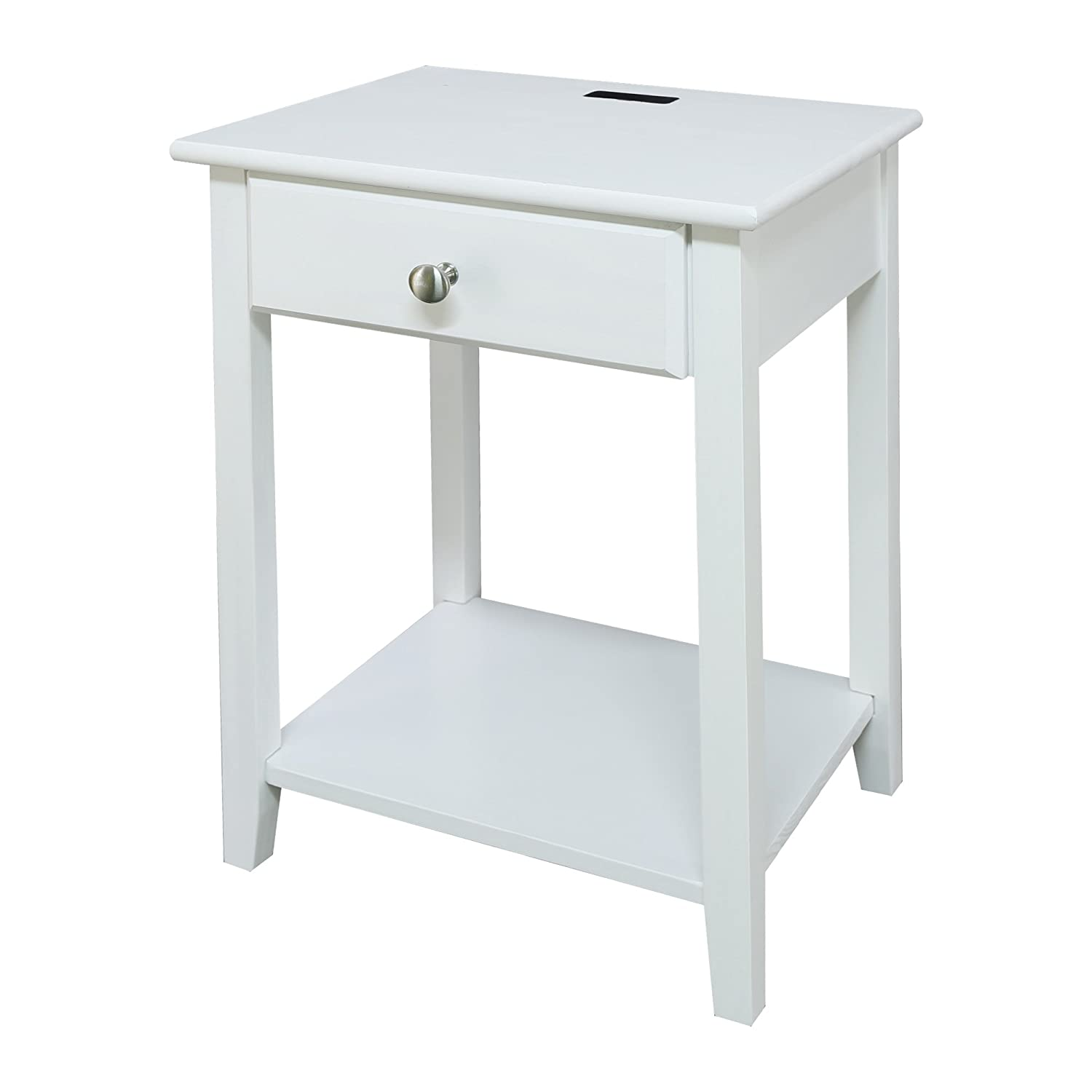 Casual Home 647-21 Owl White Night Stand with USB Port,