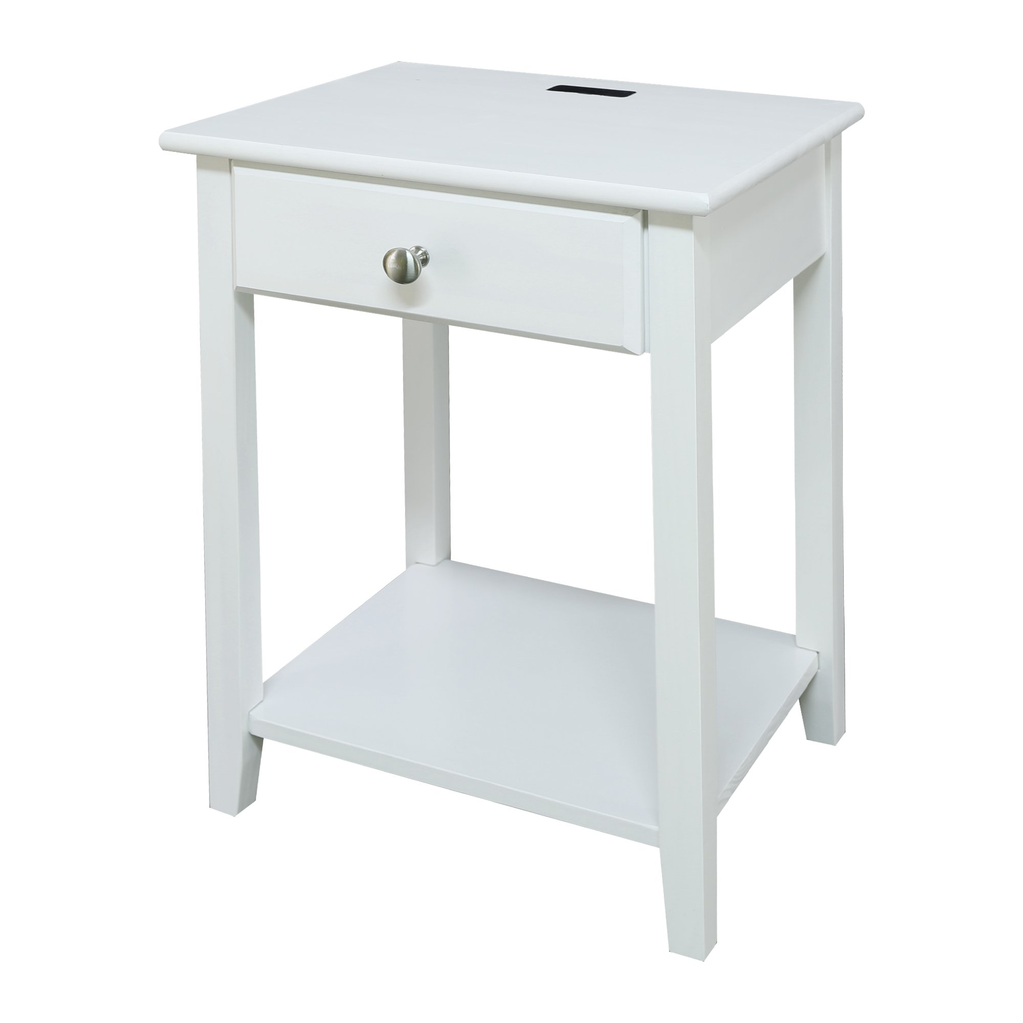 Casual Home 647-21 Owl Night Stand with USB Port, White
