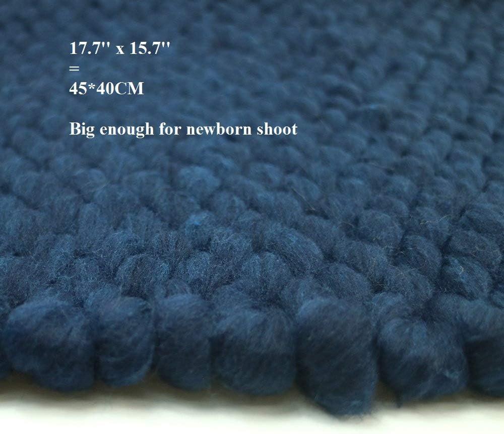 Handcraft Newborn Photography Props Girl Boy Knit Blanket Basket Mat Studio Set 17.7x15.7 inch Coffee
