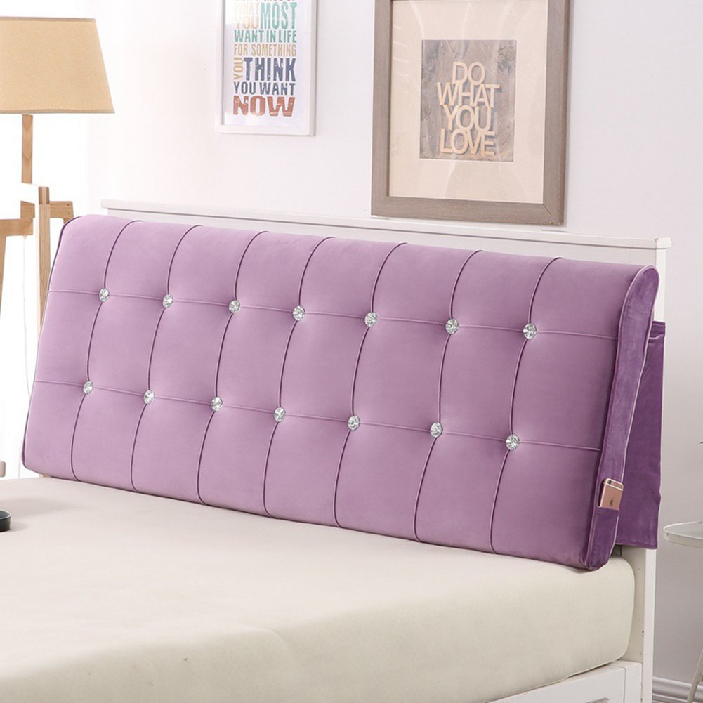 Vercart Sofa Bed Large Upholstered Headboard Filled Triangular Wedge Cushion Bed Backrest Positioning Support Pillow Reading Pillow Office Lumbar Pad with Removable Cover Lavender 47x4x24 Inches