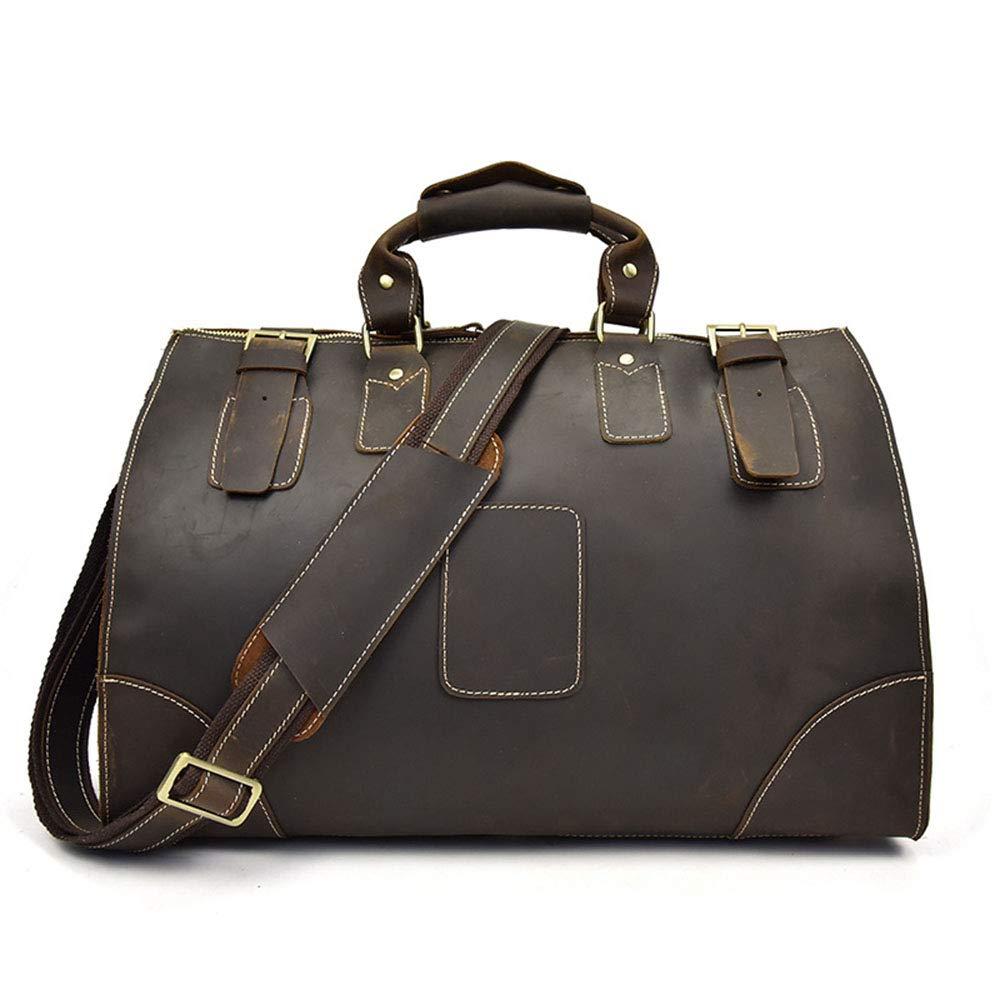 婦人用バッグ シンプルなクラシックトラベルバッグメンズレザーハンド荷物バッグショルダーバッグカジュアルビジネス段落ダークブラウン (色 : 褐色) B07RDK8677 褐色