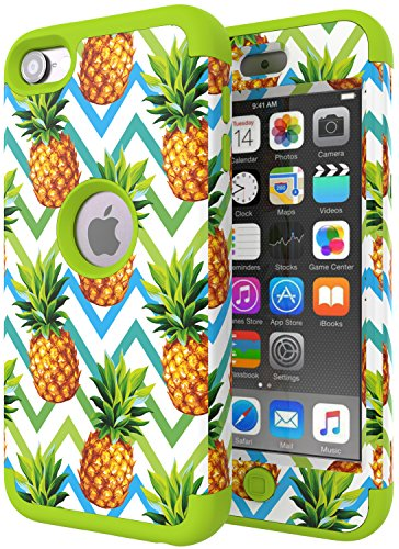 Green Ipod Touch (iPod Touch 6 Case,iPod Touch 5 Case,SLMY(TM) High Impact Heavy Duty Shockproof Full-Body Protective Case with Dual Layer Hard PC+ Soft Silicone for Apple iPod Touch 6th/5th Generation Wave Pineapple)
