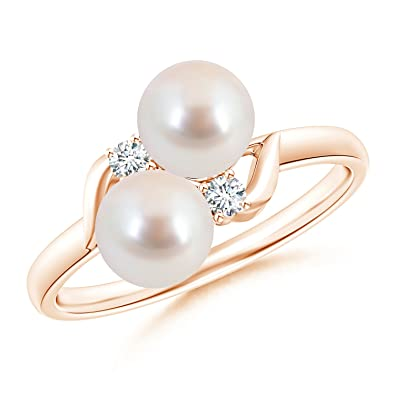 Angara Two Stone Akoya Cultured Pearl Ring with Diamond Accents