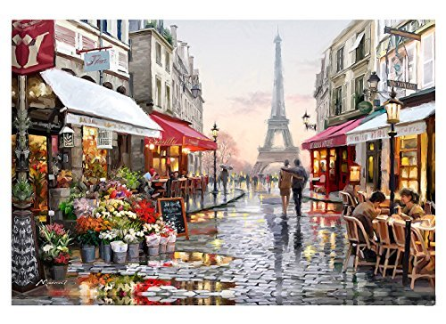 Tonzom Paint by Numbers Kit 16x20 inches Diy Oil Painting with Acrylic Pigment Anniversary Gifts for Boys and Girls - Romantic Paris Street Eiffel Tower (Without Frame)
