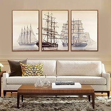 Paintsh Nordic Style Sofa Wand Dekorative Malerei Triple Moderne Wohnzimmer  Wohnzimmer Landschaft Gemälde Segelboot Wandmalereien,