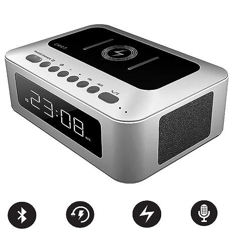 Reloj despertador con espejo, teléfono celular Cargador ...