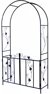 Woodside Decorative Metal Garden Arch With Gate Outdoor Climbing Plants  Archway, 214 X 110cm