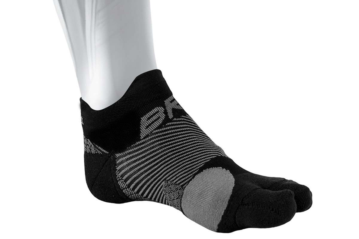 OS1st Bunion Relief Socks (One Pair) with split-toe design and bunion pad to relieve toe friction and bunion/Hallax Valgus pain (Black, Large)