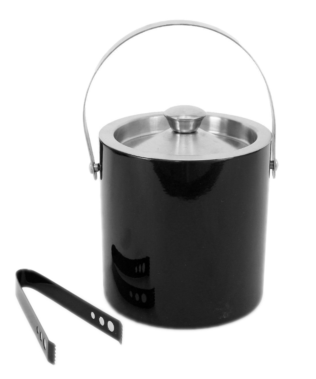 STREET CRAFT Stainless Steel Double Wall Insulated Black Ice Bucket with Air Lock Lid and tong Capacity 1750 ML