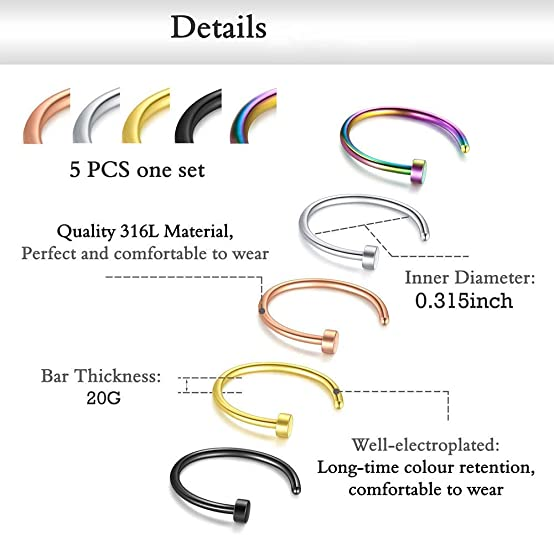 Blinst Nose Rings 33PCS 20G 316L Surgical Stainless Steel Body Jewelry Piercing Nose Ring Studs