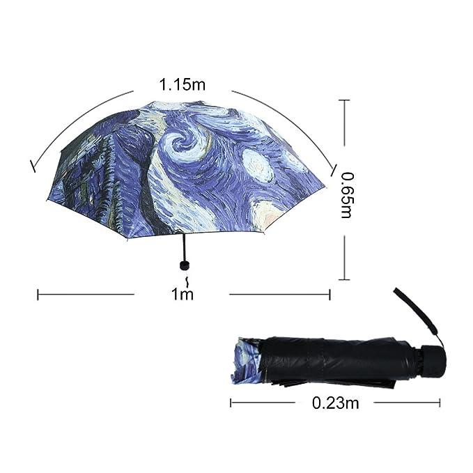 Paraguas elegante 2017 de Van Gogh del arte de la pintura al óleo Paraguas universal innovador del paraguas de la Todo-tiempo dentro del paraguas ...
