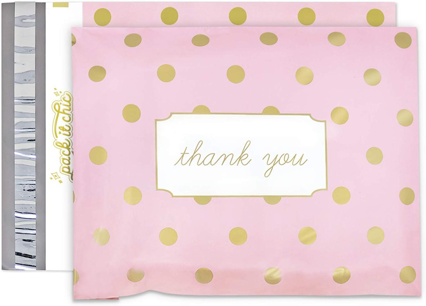 Medium 7 inch by 10 inch zipper Bag Pink Polka Dot