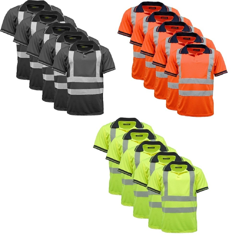 5 Pack Polo Shirts Hi Vis High Viz Visibility Short Sleeve Safety Work-wear Shirt