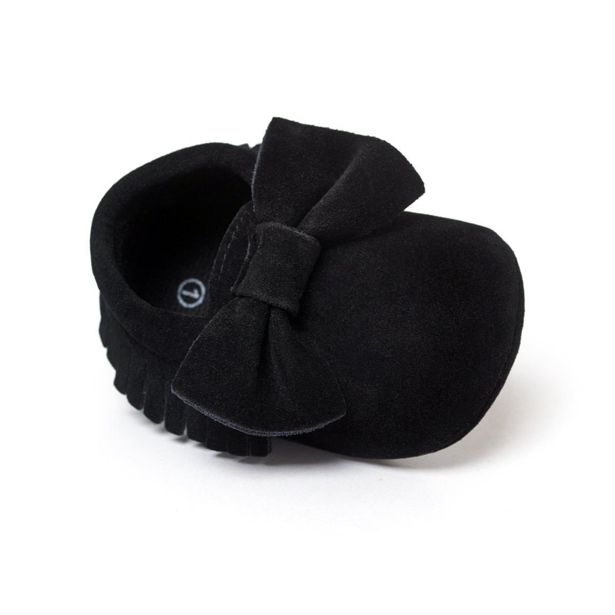 LIVEBOX Infant Baby Girls and Boys Premium Soft Sole Moccasins Tassels Prewalker Anti-Slip Toddler Shoes (S: 0~6 Months, Bow-Black)