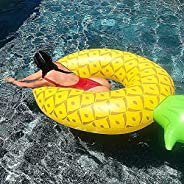 Inflatable Pool Float - Donut Swim Rings,Watermelon floatie,Pineapple Swimming Ring Fast Inflation, with Patch